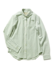 ライトグリーン ギンガムチェック シャツ
