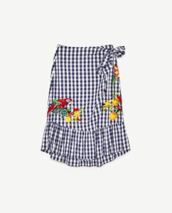 ギンガムチェック 刺繍 ラップスカート